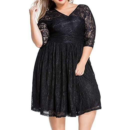 3726aac37140 8841 - Plus Size Lace V Neck Curvy Cocktail Party Dress (2X) at ...