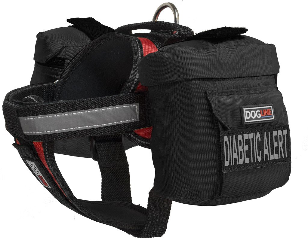 Dogline Unimax Multi-Purpose Vest Harness for Dogs with 2 Removable DIABETIC ALERT Patches and 2 Removable Side Utility Bags (Red, Large (28'' - 38''))