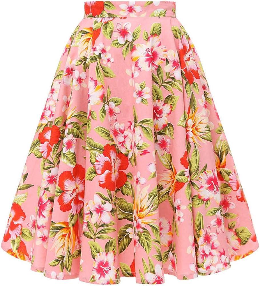 AOMEI Womens High Waist Knee Length A-line Skirt