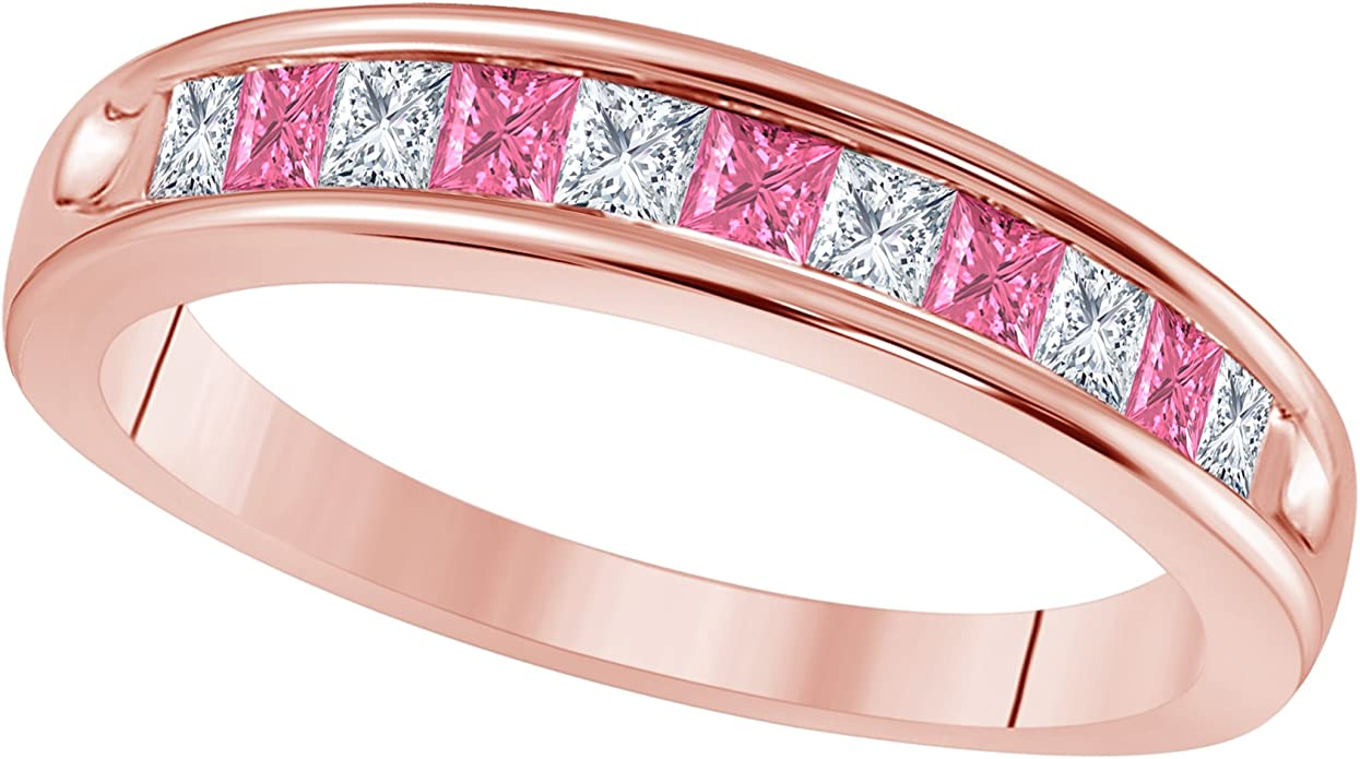 Amazon Com 14k Rose Gold Plated 1 2 Ct Princess Cut Cz Simulated
