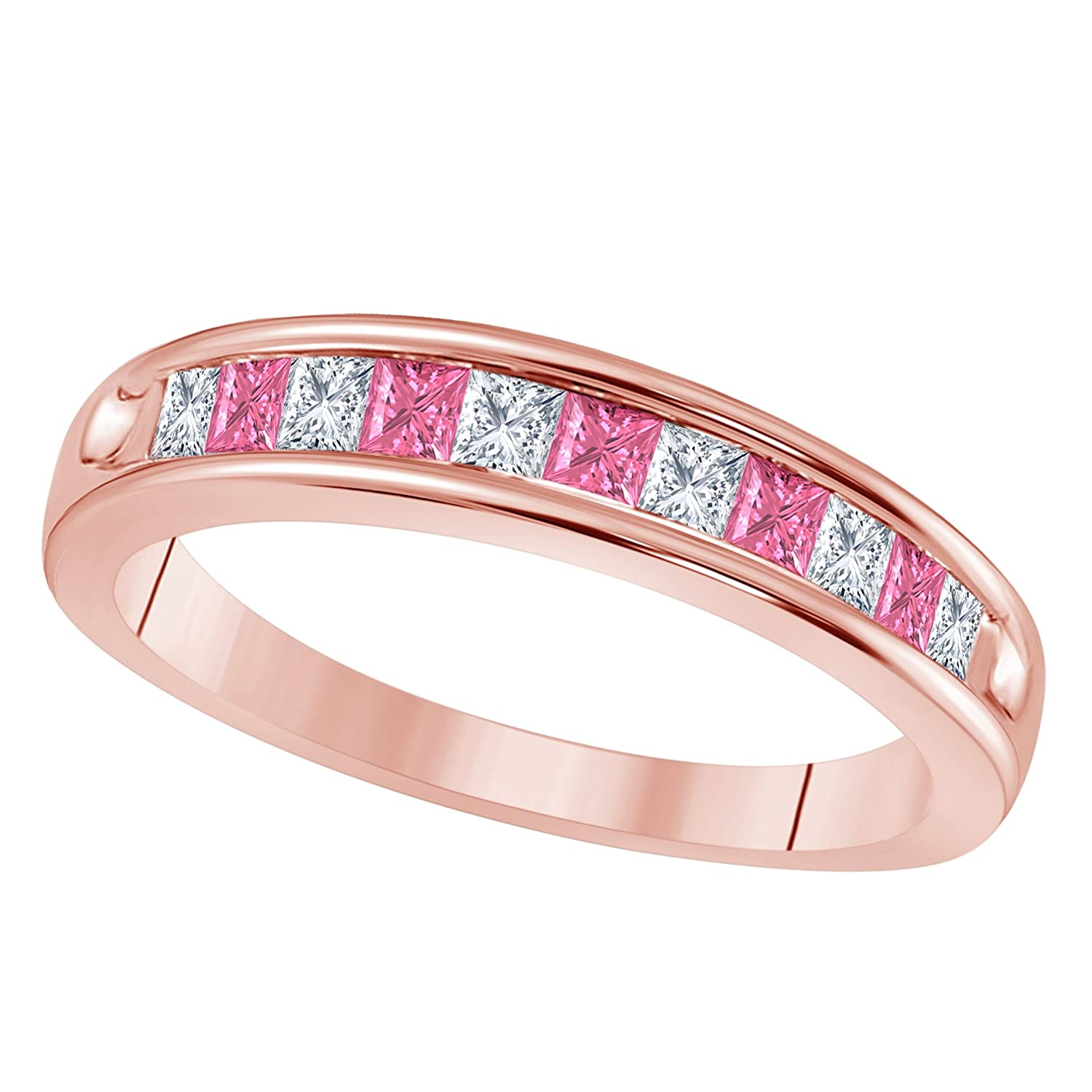 Amazon.com: 14K Rose Gold Plated 1/2 Ct Princess Cut CZ Simulated ...