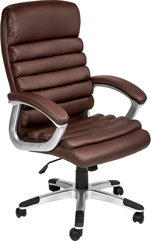 TecTake Chaise de Bureau Fauteuil de Direction Hauteur réglable | Design ondulé | diverses Couleurs au Choix (Marron | no. 402150)
