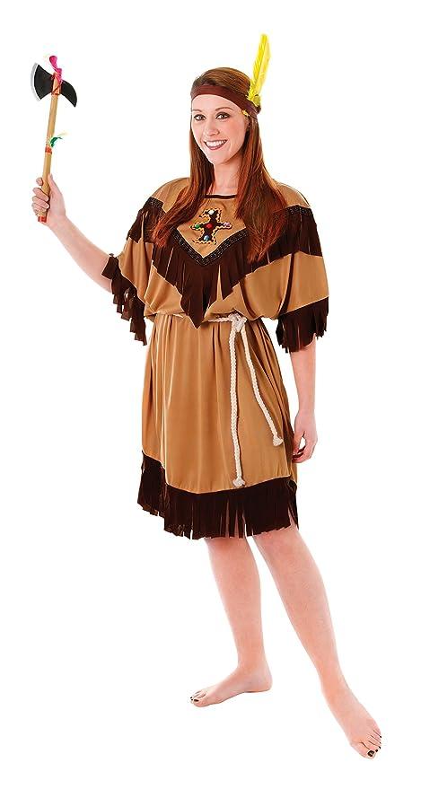 Bristol Novelty- Indígena India Disfraz de Mujer, Color marrón (AC593)