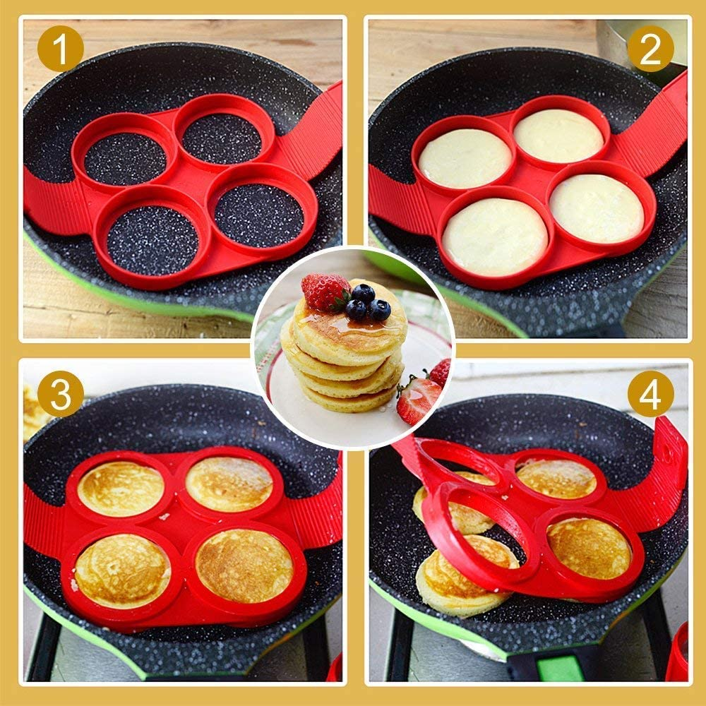 Flip Cooker Pancakes Mold Runde und Herzform 2er Pack Nonstick Silikon Pancake Mold Maker Fr/ühst/ück Pancake Shaper Herz und Quadrat Blume und Quadrat