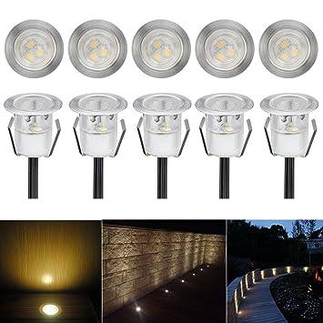 Gut 10er Set Terrassen Einbaustrahler LED Bodeneinbaustrahler Ø30mm  NE62