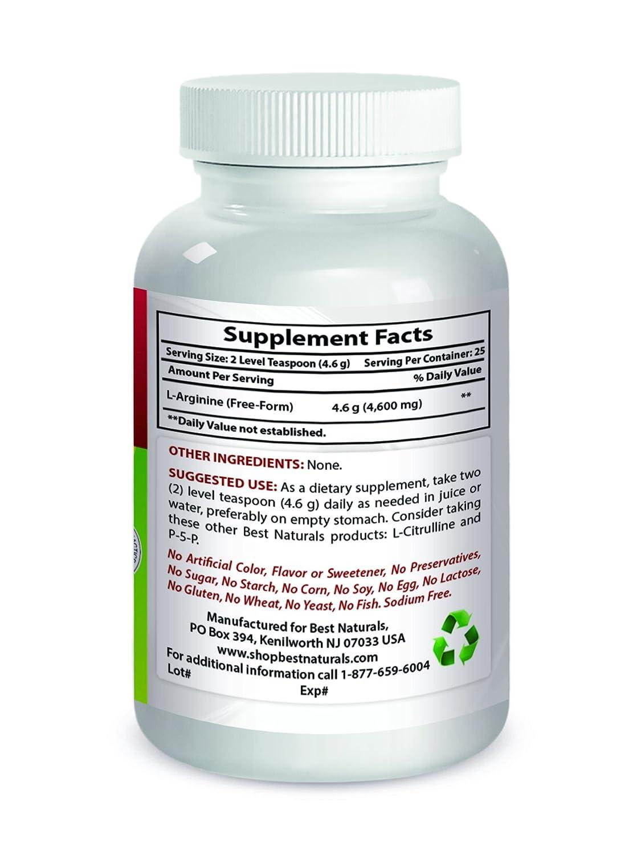 Amazon.com: Best Naturals L-Arginine Powder 1 Pound - Pure ...