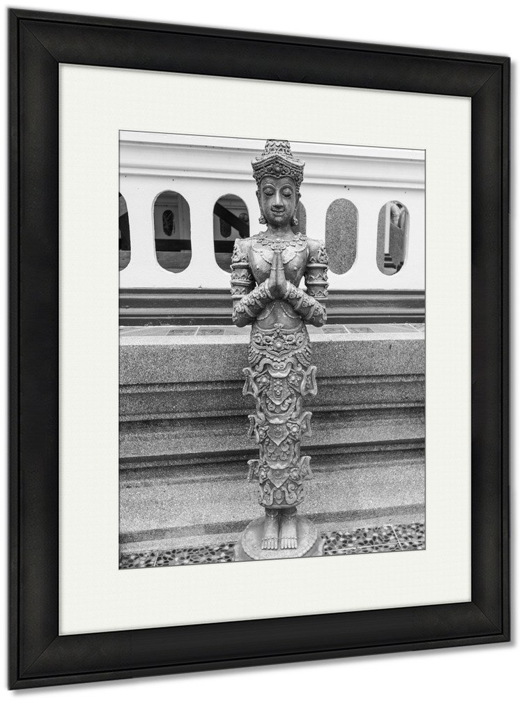 Ashley Framed Prints Thai Ancient Angel In Temple, Wall Art Home Decoration, Black/White, 35x30 (frame size), Black Frame, AG5391457 by Ashley Framed Prints