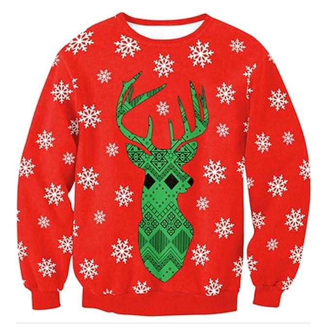 Camiseta Navidad, Moda Señoras Unisex Muñeco De Nieve Renos Sudadera Impresión 3D Casual Manga Larga Ronda De Suéteres De Cuello De Navidad Navidad ...