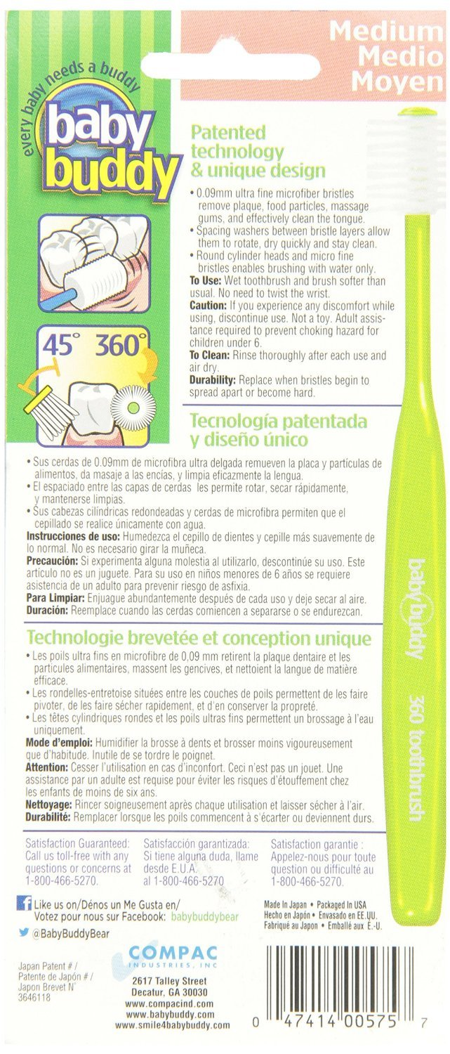 Amazon.com : Baby Buddys 360 Degree Toothbrush- Babys First Toothbrush-Innovative Complete Oral Care System That Grows With Your Child-Stage 6 For ...