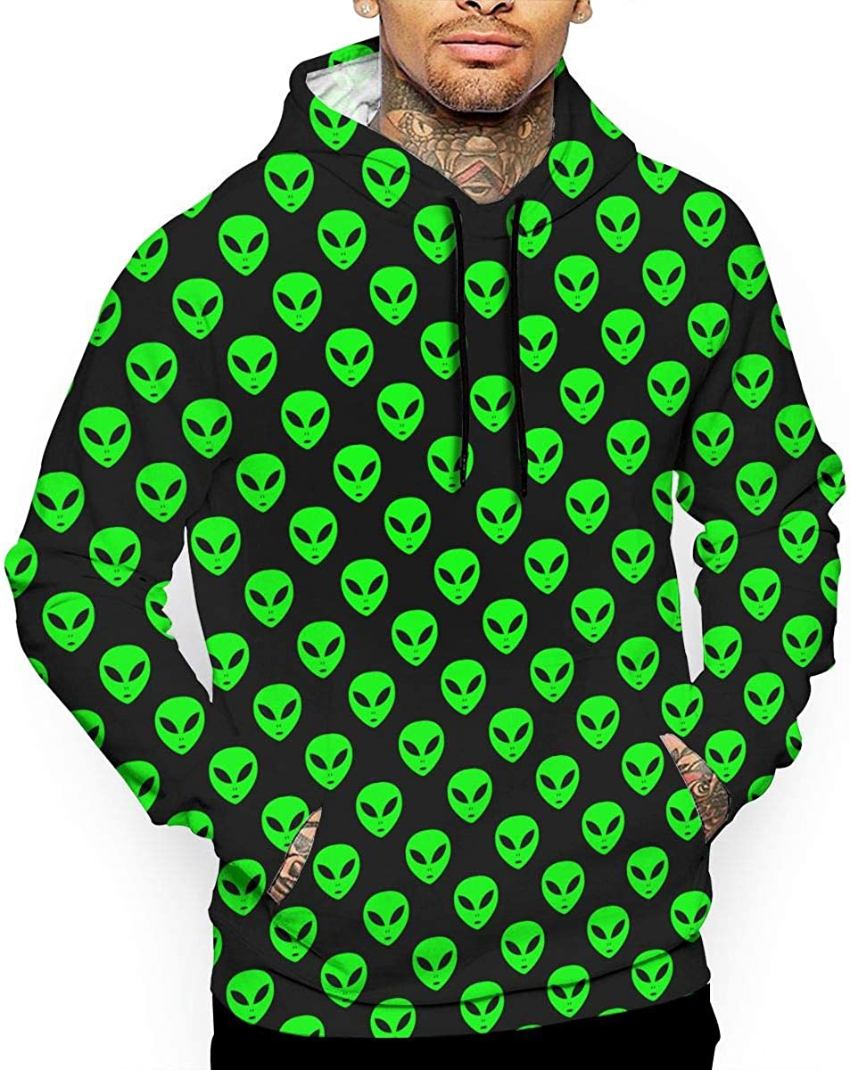 Green Aliens Black Mens Front Pouch Pocket Pullover Hoodie Sweatshirt Long Sleeves Pullover Tops