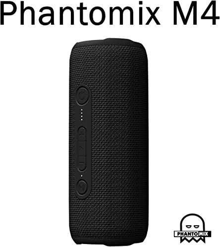 PhantoMix M4, True Wireless Rechargeable Bluetooth Speaker with Mic, Premium Stereo, Waterproof Shower Speaker, Enhance Bass, Aux Port, USB Charging Black