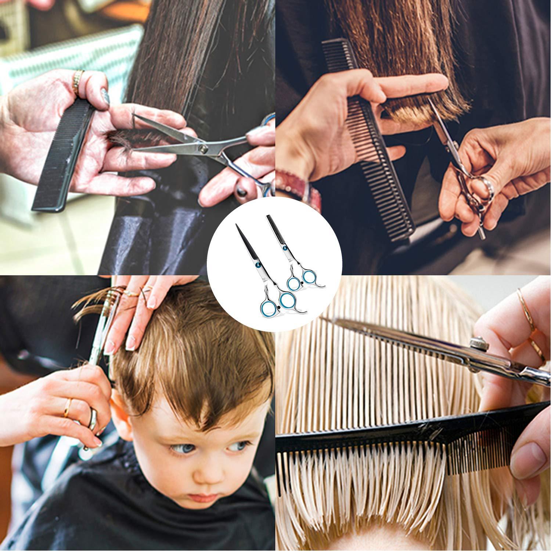 Hair Scissors Professional Hair Cutting Scissors Shears Set Hairdressing Scissors Barber Shear for Barber Salon Thinning Scissors Stainless Steel Scissors with Haircut Comb Hair Cutting Shears