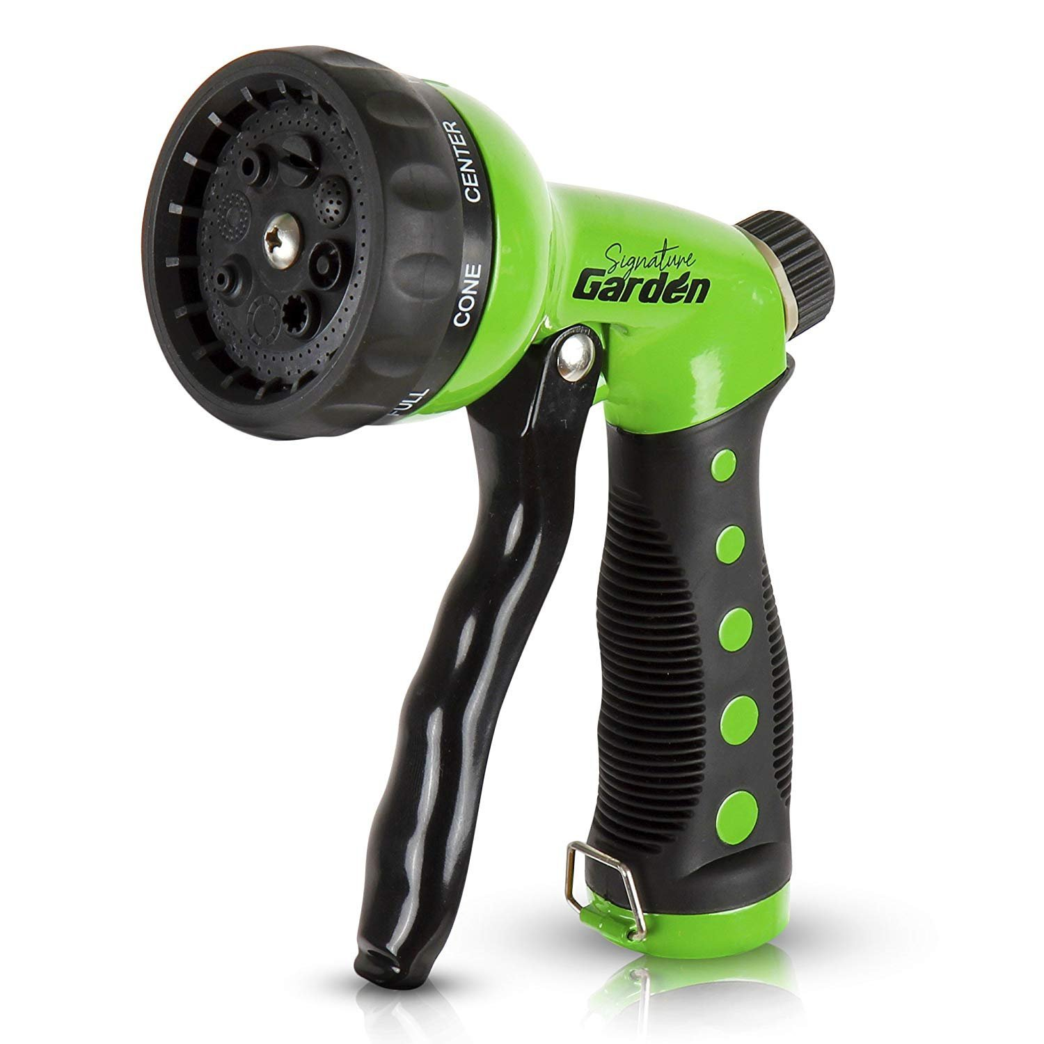 Signature Garden Heavy-Duty Spray Nozzle, Comfort-Grip 8 Different Patterns for Watering Lawns, Washing Cars and Pets