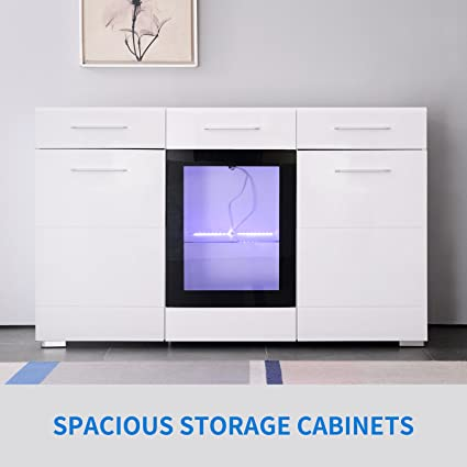 GTM Mecor Sideboard Cabinet Kitchen Cupboard Buffet Storage High Gloss LED  Light With Control White (