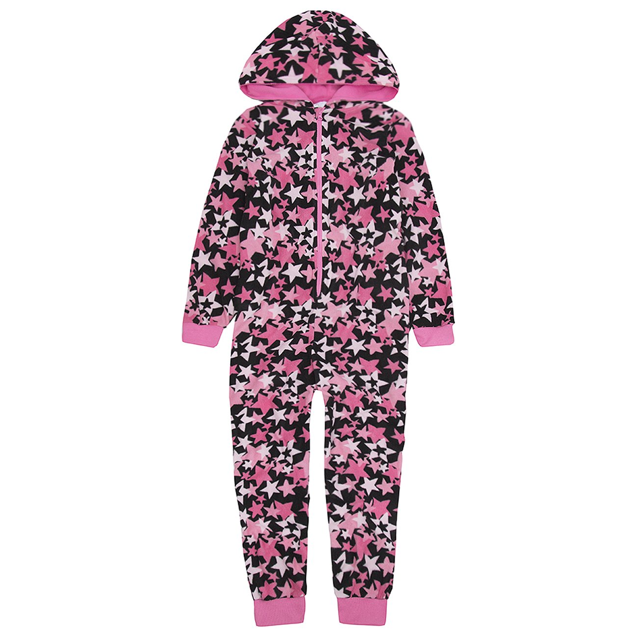 Selena Girl Girls Hooded Onesie Fleece All in One Kids Printed Jump Sleep Suit Nightwear Cosy Pyjamas