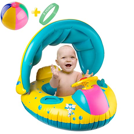 R u2022 HORSE Inflatable Baby Pool Float Swimming Ring with Sun Canopy for the Age 6  sc 1 st  Amazon.com : baby pool with canopy - memphite.com
