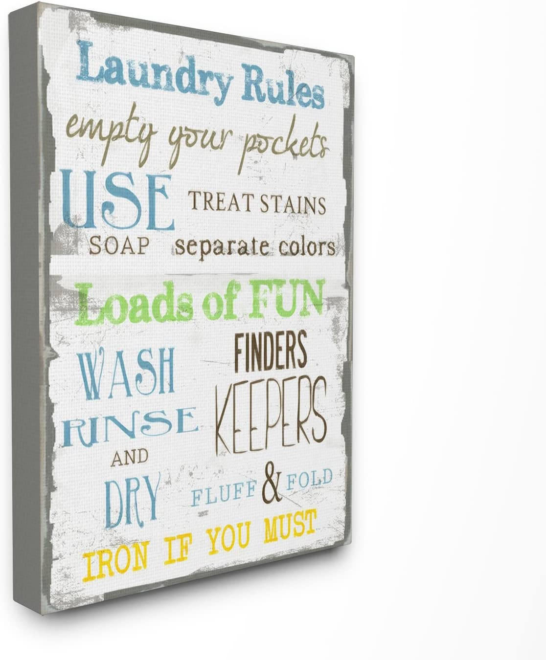 Stupell Industries The Stupell Home Decor Laundry Rules Typography Bathroom Canvas Wall Art, 16 x 20, Design by Artist Taylor Greene