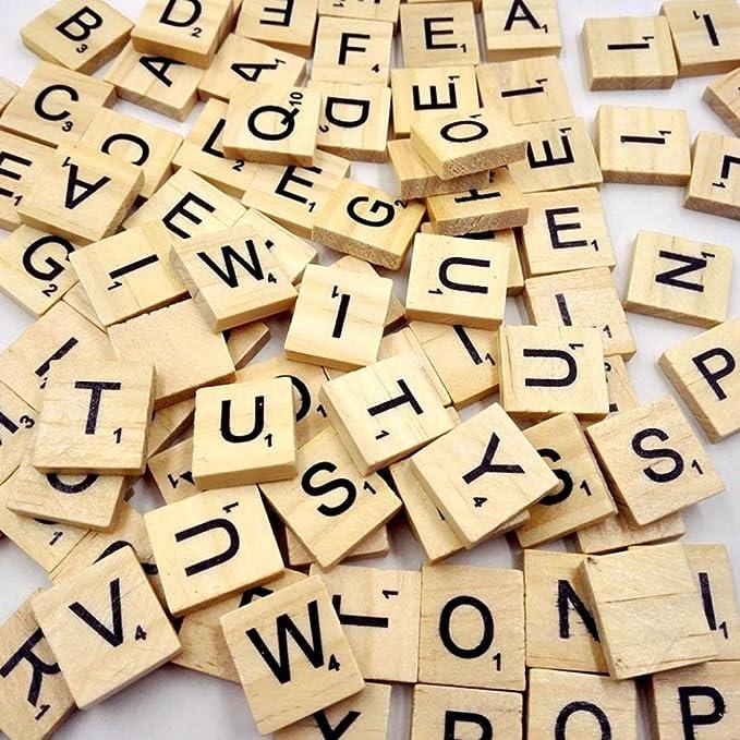 vibola 100 piezas de madera para Scrabble letras de color negro números para manualidades madera alfabeto letras Scrabbles número Inglés palabras: Amazon.es: Juguetes y juegos