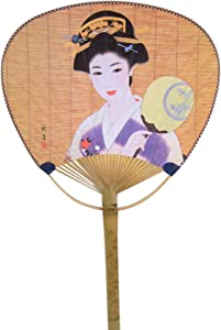 Japanese Geisha Design Paper Hand Fan with Handles, 15 Inches
