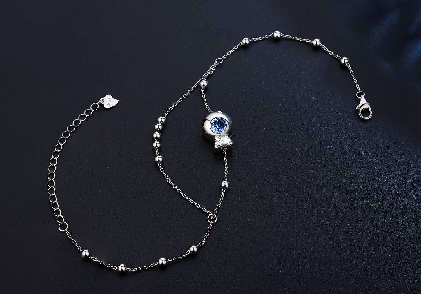 Abiguell Damen Fußkettchen 925 Sterling Silber Kugel Fußkette, Sommer Strand FußSchmuck für Frauen Mädchen inkl. Geschenkbox Verstellbares (26 cm)