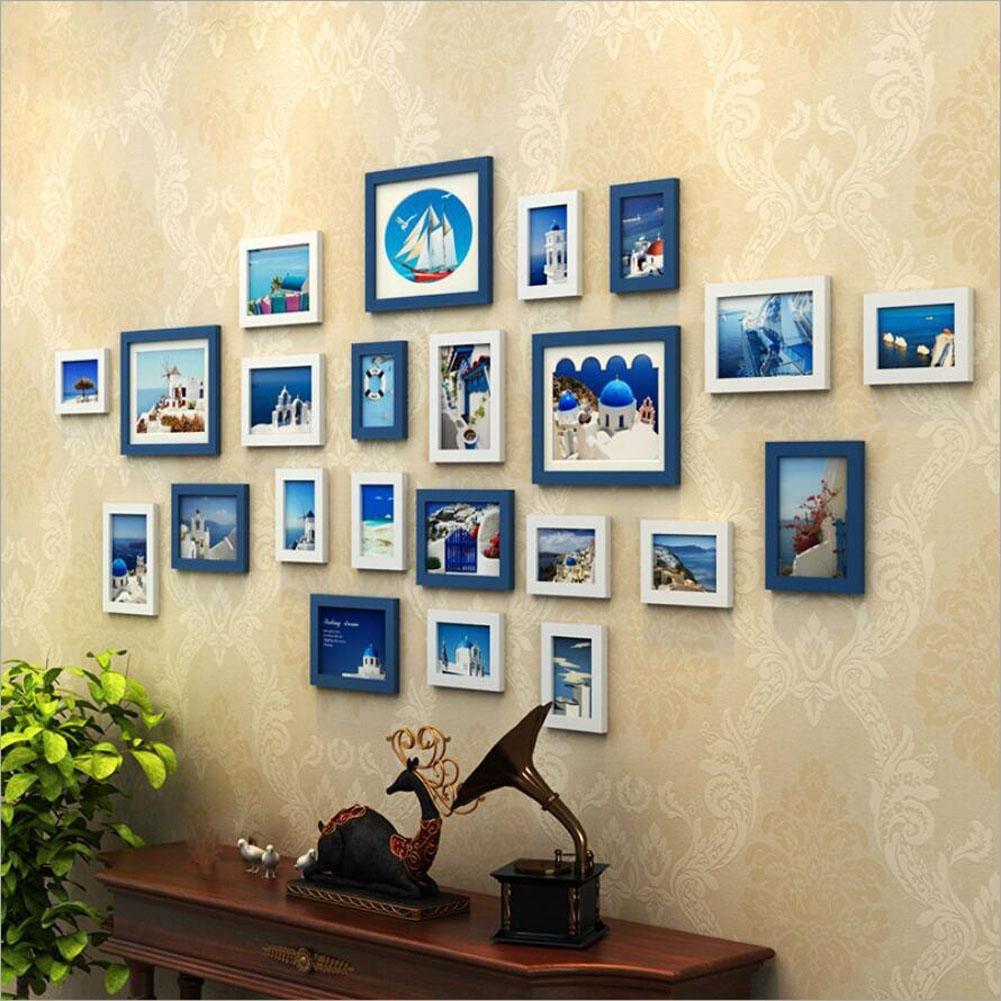 ZZZSYZXL Massivholz-Foto Wall 23 Rahmen Wohnzimmer Schlafzimmer Foto Wall kreatives Paket , blue + white