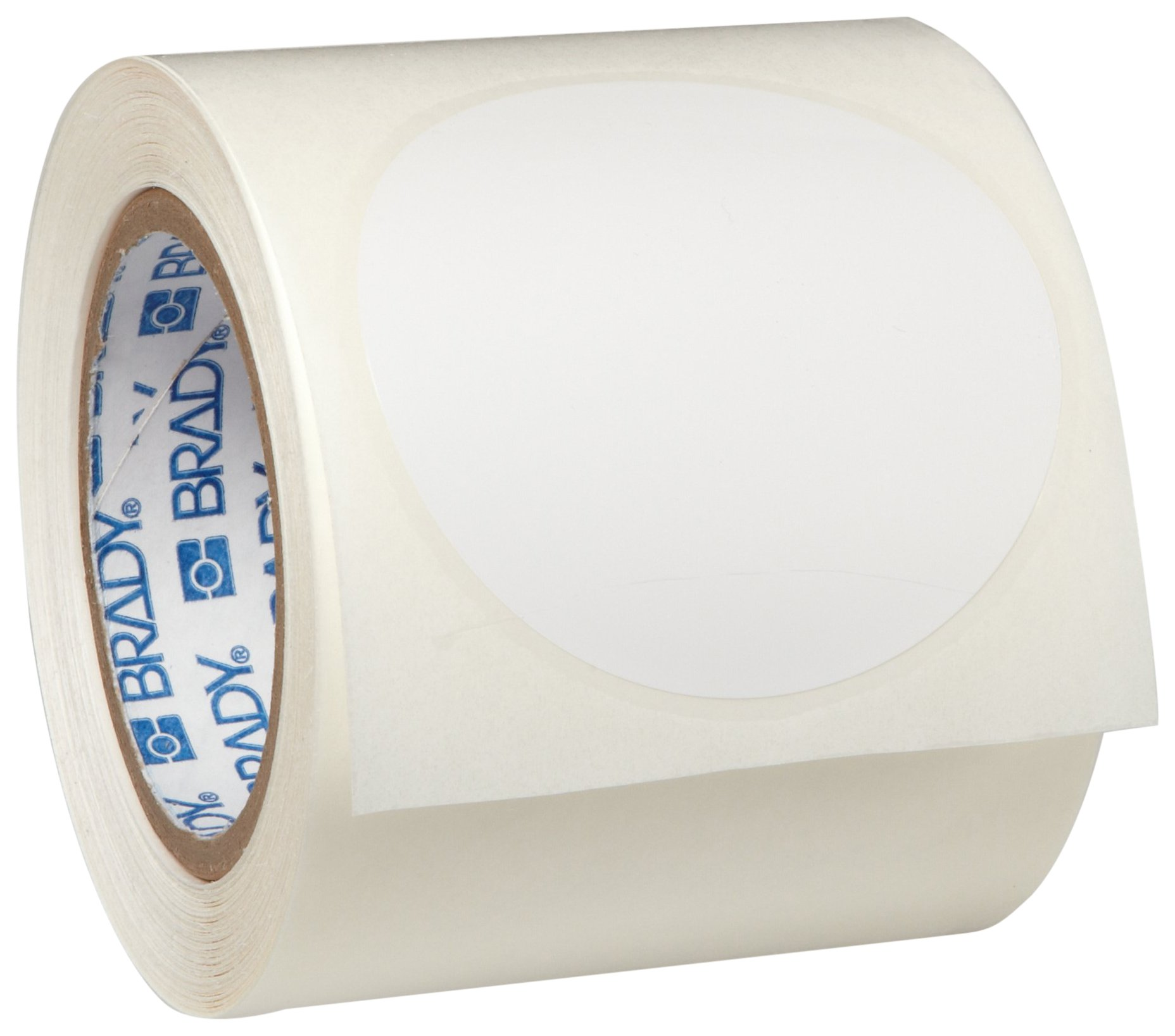 Brady ToughStripe Nonabrasive Dot Shaped Floor Marking Tape, 3.5'' Diameter, White, Prespaced (Pack of 55 Per Roll)