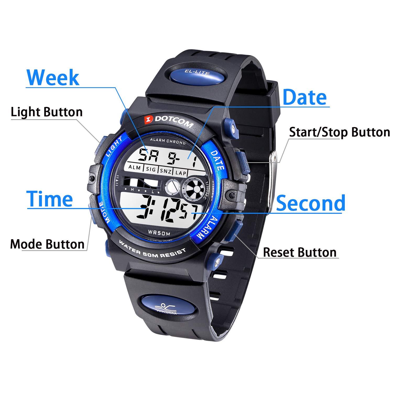 Relojes para Adolescentes, Relojes para Hombres, Reloj Padre-Hijo 5ATM Impermeable/Despertador/Cronómetro/Luces de Colores de Fondo, Relojes Impermeables, ...