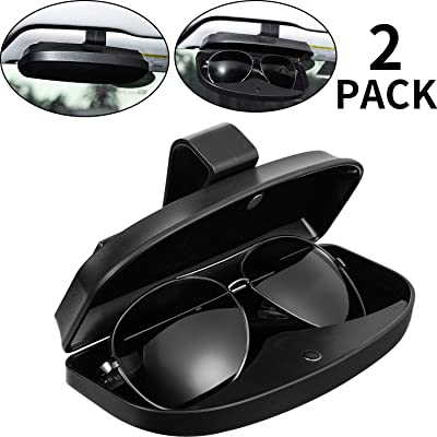 2 Packs Car Glasses Holder Sun Visor Glasses Case, Universal Automotive ABS Eyeglasses Holder Protective Box Clip Eyewear Hard Shell Storage Organizer with Magnetic Closure, 2 Credit Card Slot (Black): Automotive