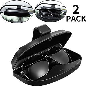 2 Packs Car Glasses Holder Sun Visor Glasses Case, Universal Automotive ABS Eyeglasses Holder Protective Box Clip Eyewear Hard Shell Storage Organizer with Magnetic Closure, 2 Credit Card Slot (Black)