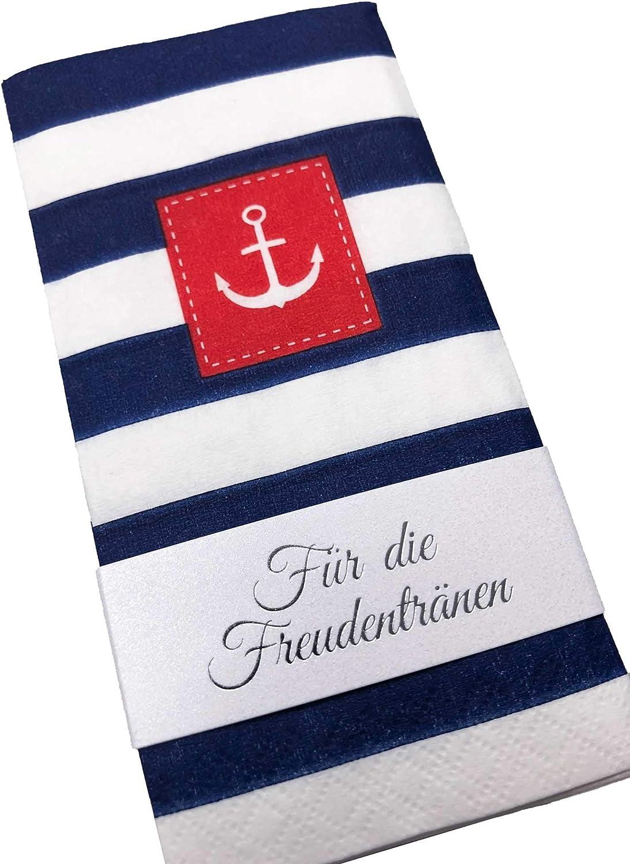100 + Banderolen KATINGA Maritime Taschent/ücher f/ür Freundentr/änen