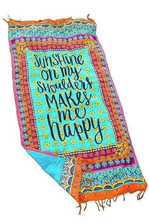 Juventud vitalidad de las mujeres toalla de playa sol sobre mis hombros makes me happy One Size: Amazon.es: Hogar