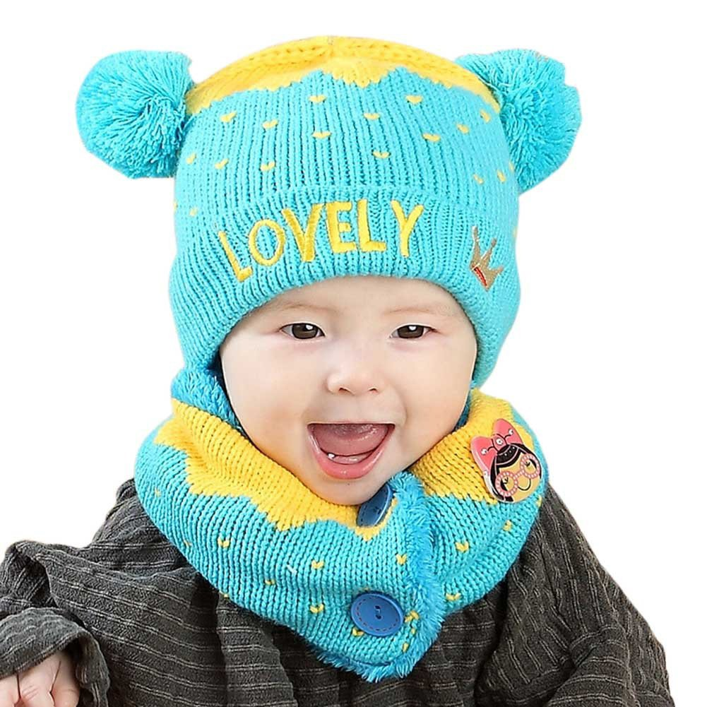 ZX101 Winter Kids Scarf and Hat Set Toddlers Baby Girls Boys Lovely Knitted Warm Hat Beanie Cap Warm Hat Hooded Knitted Scarf Cap
