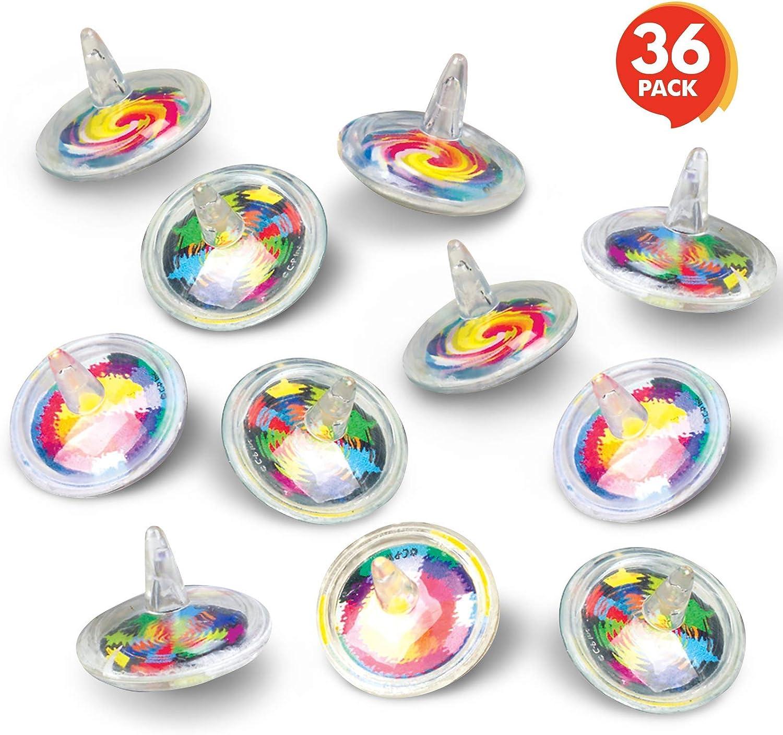 Artcreativity Spinning obere Toys für Kids - 36 Pack - 1.5 Inch Vibrant Bright Designed Spin Tops - Spaß Birthday Party Favors für Boys und Girls, School oder Church Carnival, Novelty Gift