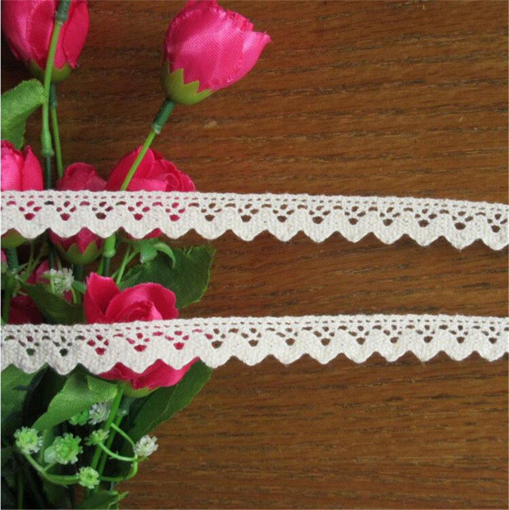 10 Yards Cotton Lace Edge Trim Ribbon 1.5 cm Width Vintage Style Ivory Cream Edging Trimmings Fabric Embroidered Applique Sewing Craft Wedding Bridal Dress Embellishment DIY Decor Clothes Embroidery Qiuda
