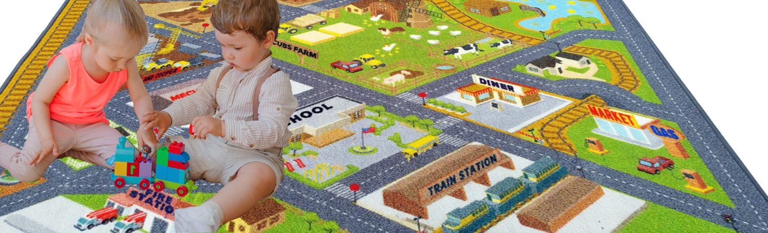 KC Cubs Playtime Collection Country Farm Road Map with Construction Site Educational Learning Area Rug Carpet for Kids and Children Bedroom and Playroom (3' 3'' x 4' 7'') by Kev & Cooper (Image #5)