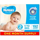 Huggies Ultra Dry Nappies, Boys, Size 2 (4-8kg) 192 Count, One-Month Supply