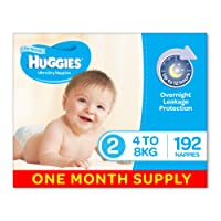 Huggies Ultra Dry Nappies, Boys, Size 2 Infant (4-8kg), 192 Count, One-Month Supply