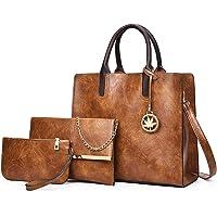 Women Brown Purses and Handbags Designer Leather Satchel Tote Purse 3 Piece Bag Sets (Brown)