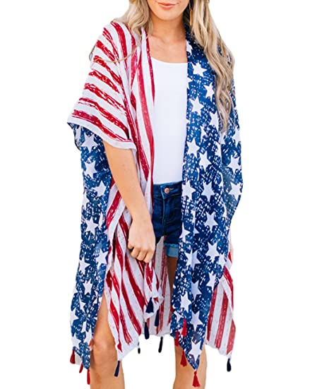 c879c1dd83b6d7 Lalagen Women Chiffon Summer Beach Cover up Swimsuit Tassel Kimono Cardigan  Flag One Size at Amazon Women s Clothing store