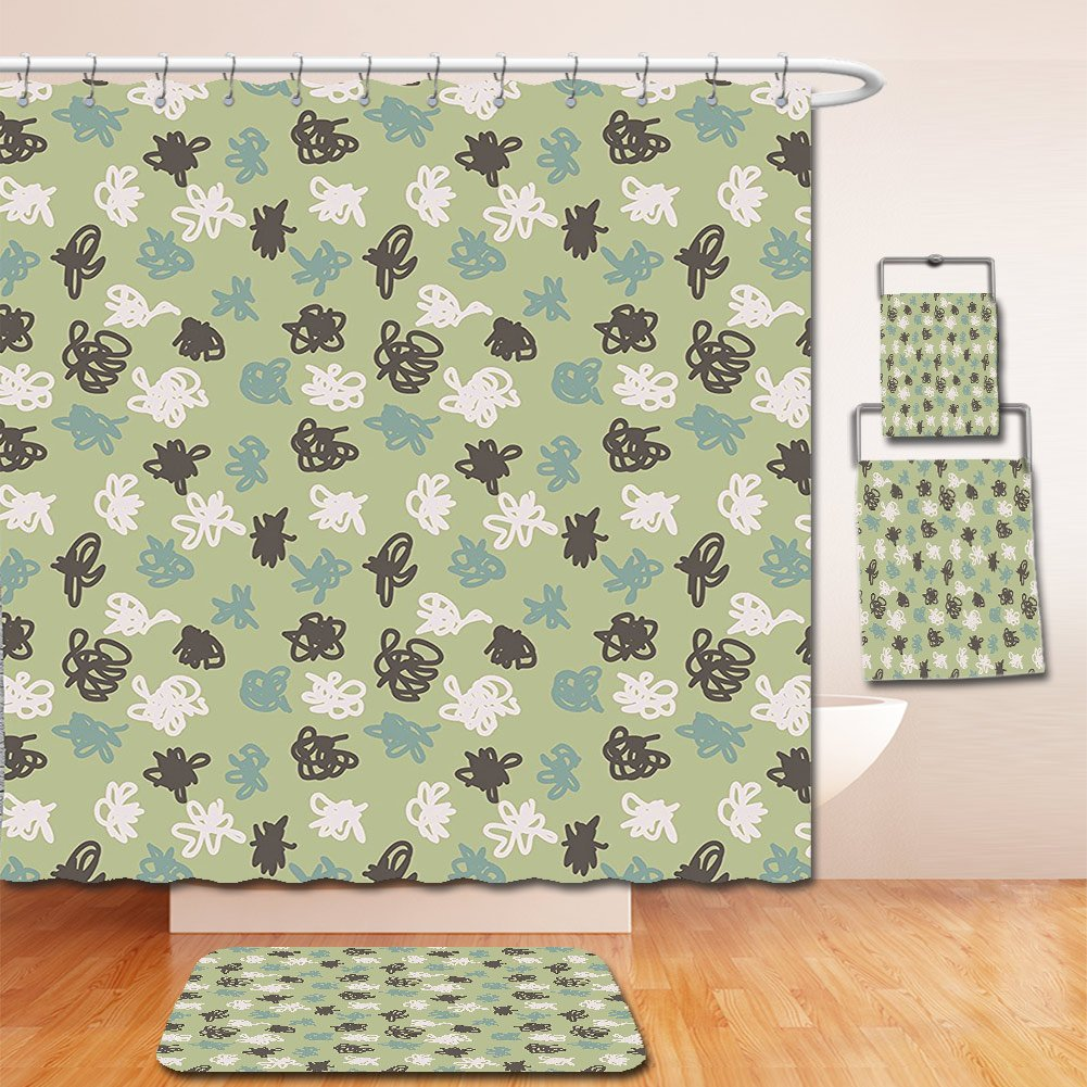 Nalahome Bath Suit: Showercurtain Bathrug Bathtowel Handtowel Green Light Green Backdrop with Sketchy Tangled Like Polka Dots Image Sage Green Olive Green and White