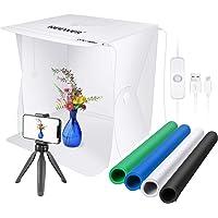 Neewer 40,6 cm fotograferingsbord ljusbox 2 LED-remsor/60 LED-pärlor hopfällbart fotostudio-fotograferingstält med 4 st…