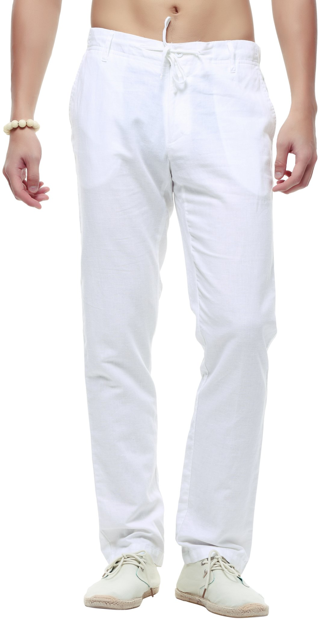 utcoco Men's Casual Drawstring Straight Fit Linen Beach Pants Flat Front (Large, White)