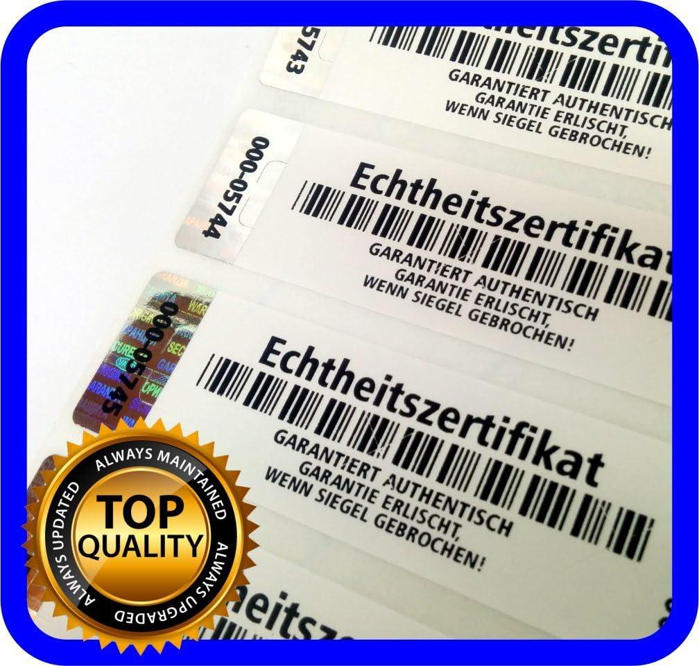 250 pièces - Certificat dauthenticité - Étiquettes avec numéros de série et hologramme, sceau autocollant 70 x 20 mm