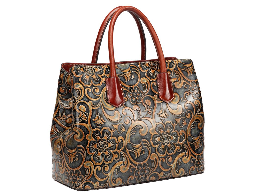 Jair Retro Floral Embossed Genuine Leather Crossbody Tote Bags Handbags for Women (Bronze New) by Jair (Image #2)