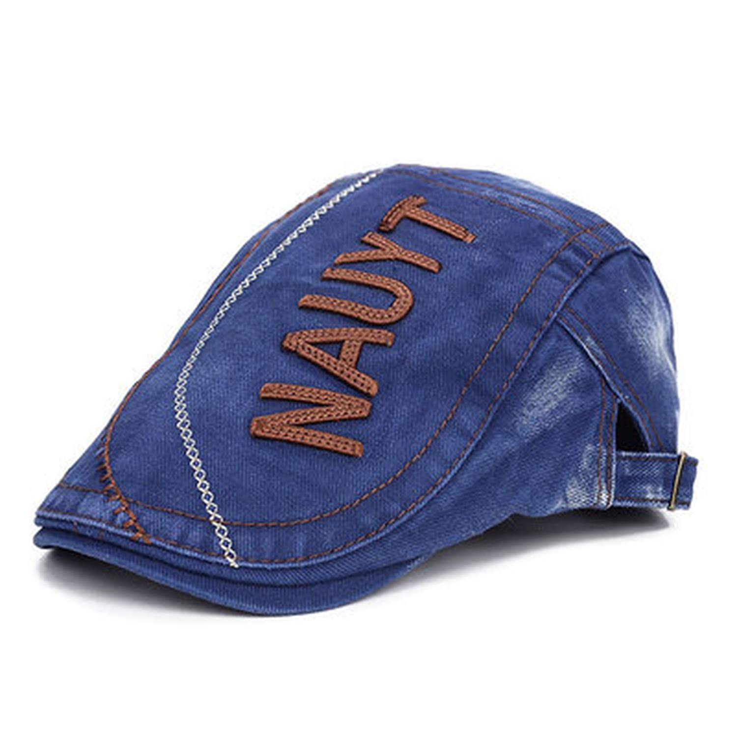 Men Letter Embroidery Newsboy Caps Hats Washed Old Hat Retro Style Gatsby Cap Cotton Flat Cap Hombre Casquette