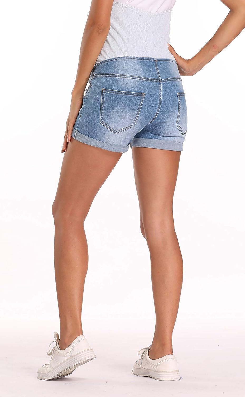 Kegiani Maternity Underbelly Wide Elastic Band Waist Denim Shorts Summer Pregnancy Shorts