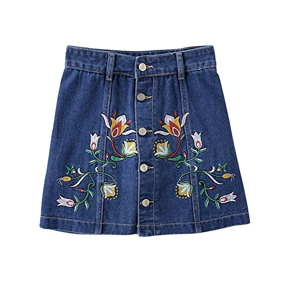 Huatime Mini Faldas Casual Mujer - Mujeres Cintura Alta Botón ...