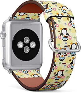 Compatible with Small Apple Watch 38mm & 40mm - (Series 5, 4, 3, 2, 1) Leather Watch Wrist Band Strap Bracelet with Stainless Steel Clasp and Adapters (Cute Penguin Donuts)