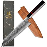 KATSU Kiritsuke Chef Knife - Damascus - Japanese Kitchen Knife - 8-inch - Handcrafted Octagonal Handle - Wood Sheath & Gift B