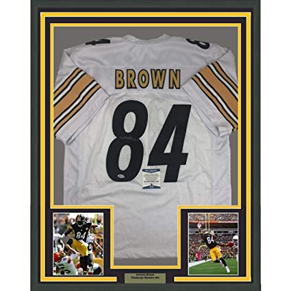 ec8e5fccb36 Antonio Brown Signed Jersey - FRAMED 33x42 White Beckett BAS COA - Beckett  Authentication - Autographed